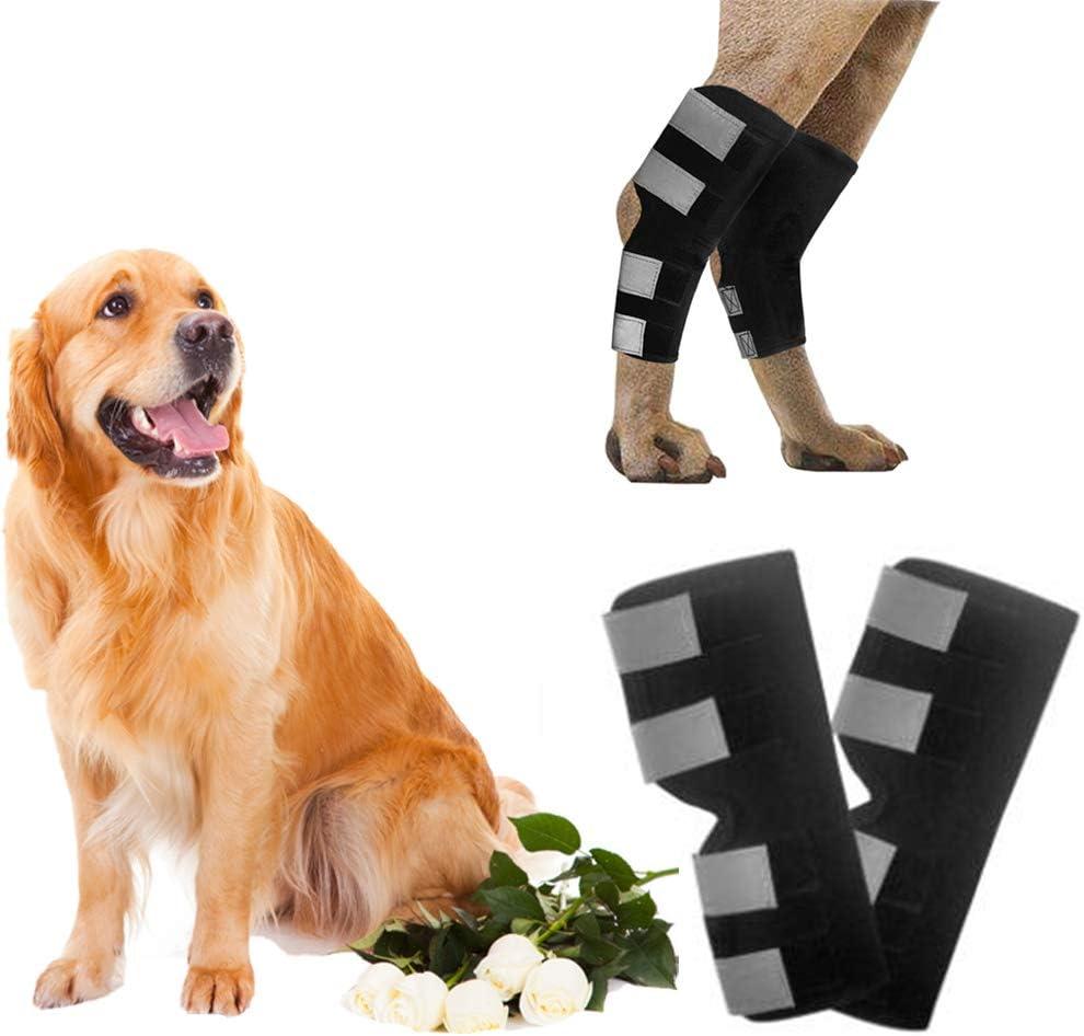 01 Protector de articulaciones para perros, Ortesis de piernas de mascotas, Manga de curación de articulaciones envueltas, Correa de rodilla de seguridad reflectante, para perros esguinces que (s)