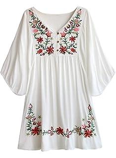 SHOBDW Vestido de Mujer Blusa Hippie Pessant de etnia ...
