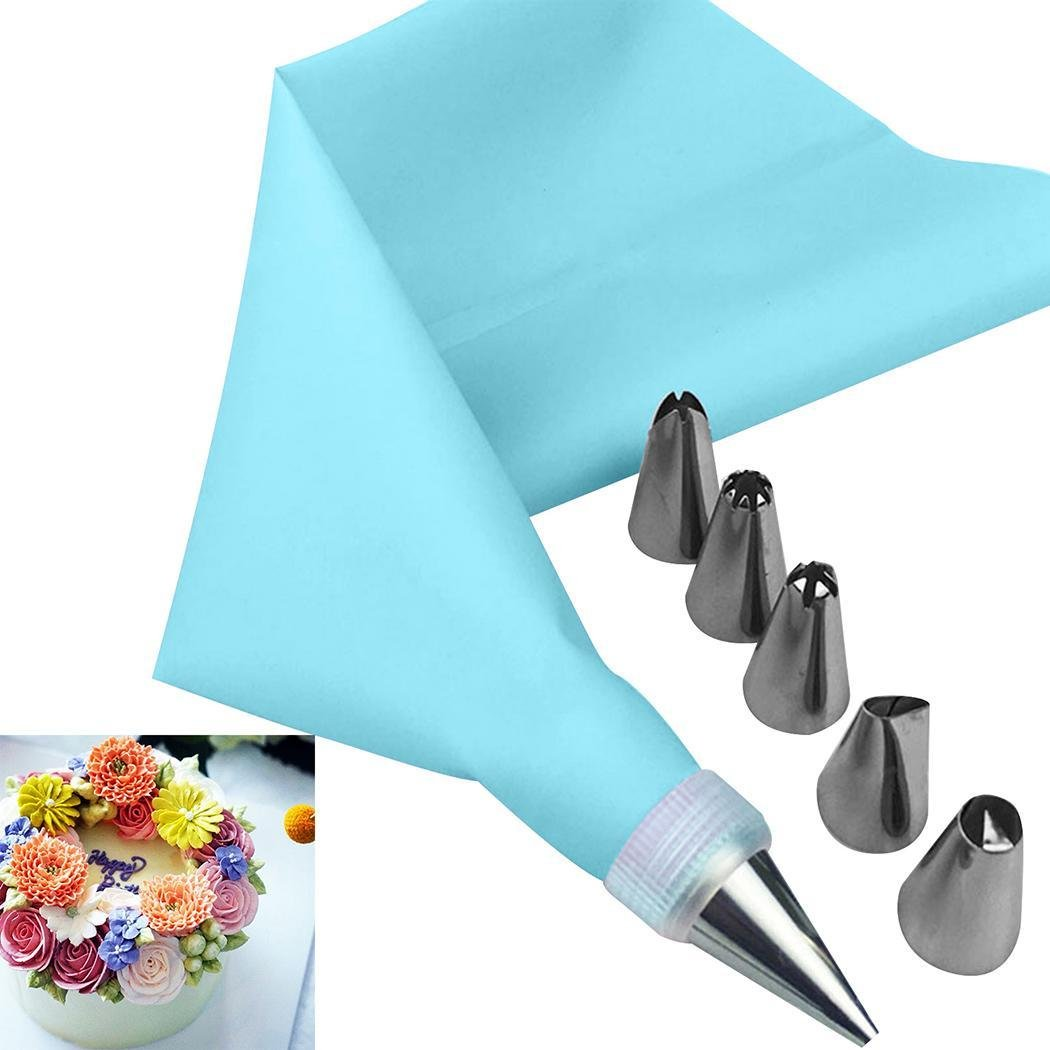 Dongtu Sholdnut 8 PCS/Set Silicone Icing Piping Cream Pastry Bag + 6 Stainless Steel Nozzle Set DIY Cake Decorating Tips Bakeware Utensil for Cook Decorating & Pastry Bags