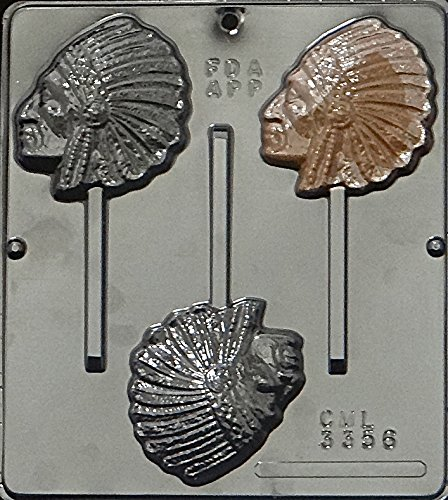 Indian Chief Lollipop Chocolate Candy Mold 3356 ()