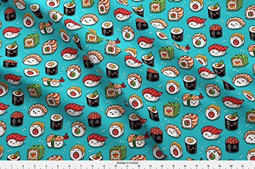 abric Cute Kawaii Sushi Small Size by Penguinhouse Printed on Basic Cotton Ultra Fabric by The Yard ()