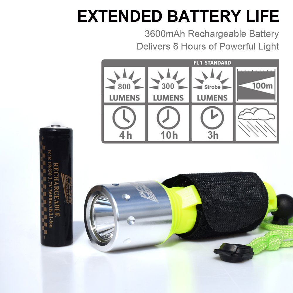800 Lumen LED Dive Light Rechargeable PFSN Professional Scuba Diving Flashlight Underwater 50m Waterproof Best for Expert Diving at Night Snorkeling Caving Fishing(18650 Battery and Charger Included) by PFSN professioner (Image #5)