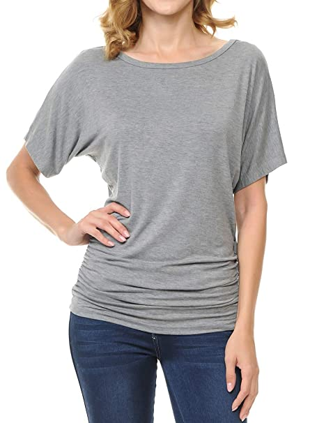 70217771d43a Ephphatha Womens Solid Short Sleeve Boat Neck Dolman Top with Side Shrring  - Designed in USA