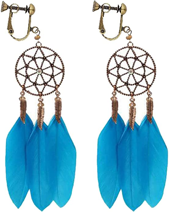 Vintage Carved Flower Clip on Dangle Earrings for Girls Hollow Round Oval Turquoise Stone Drop