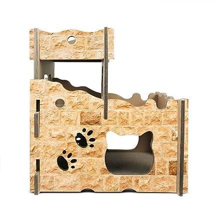Casas De Cartón De Gato, Papel Corrugado Arañazos Almohadillas para Gatos, Nido De Gato