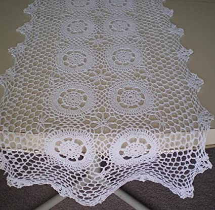 Oval 72x108/'/' White 100/% Cotton Handmade Crochet Lace Tablecloths Vintage Style