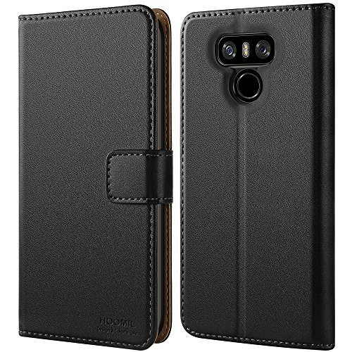 HOOMIL Case Compatible with LG G6 and LG G6 Plus, Premium Leather Flip  Wallet Phone Case for LG G6 / LG G6 Plus Cover (Black)