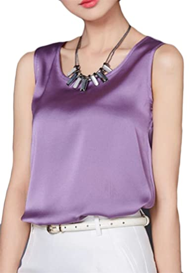 Papijam Women s Summer Silk Satin Plain Sleeveless Blouse Tank Tops Purple  L at Amazon Women s Clothing store