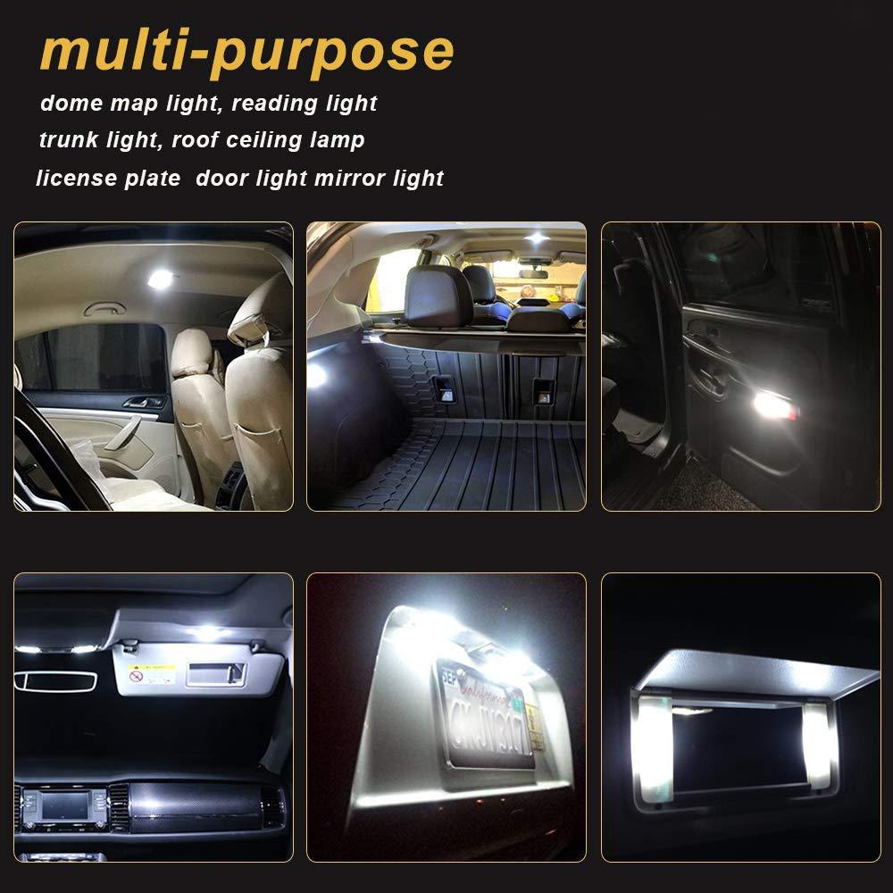 Confezione da 6 luci bianche da 300 lumen JAVR 12 V DC pannelli di illuminazione per tettuccio COB 48-SMD BA9S plafoniera con 10 adattatori T10 LED per interni auto estremamente luminose