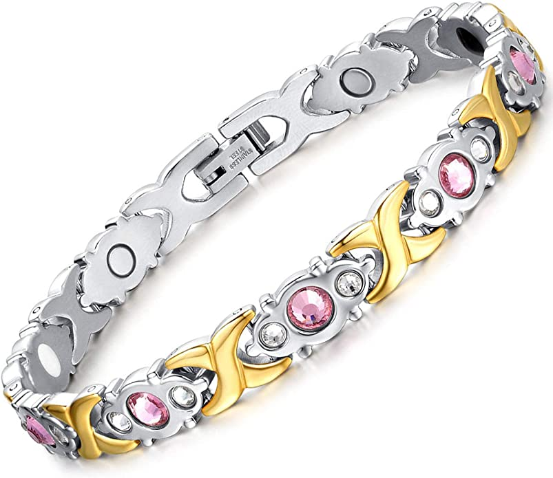 UK Ladies Designer Clear Crystal Buckle Magnetic Statement Bracelet Jewellery.