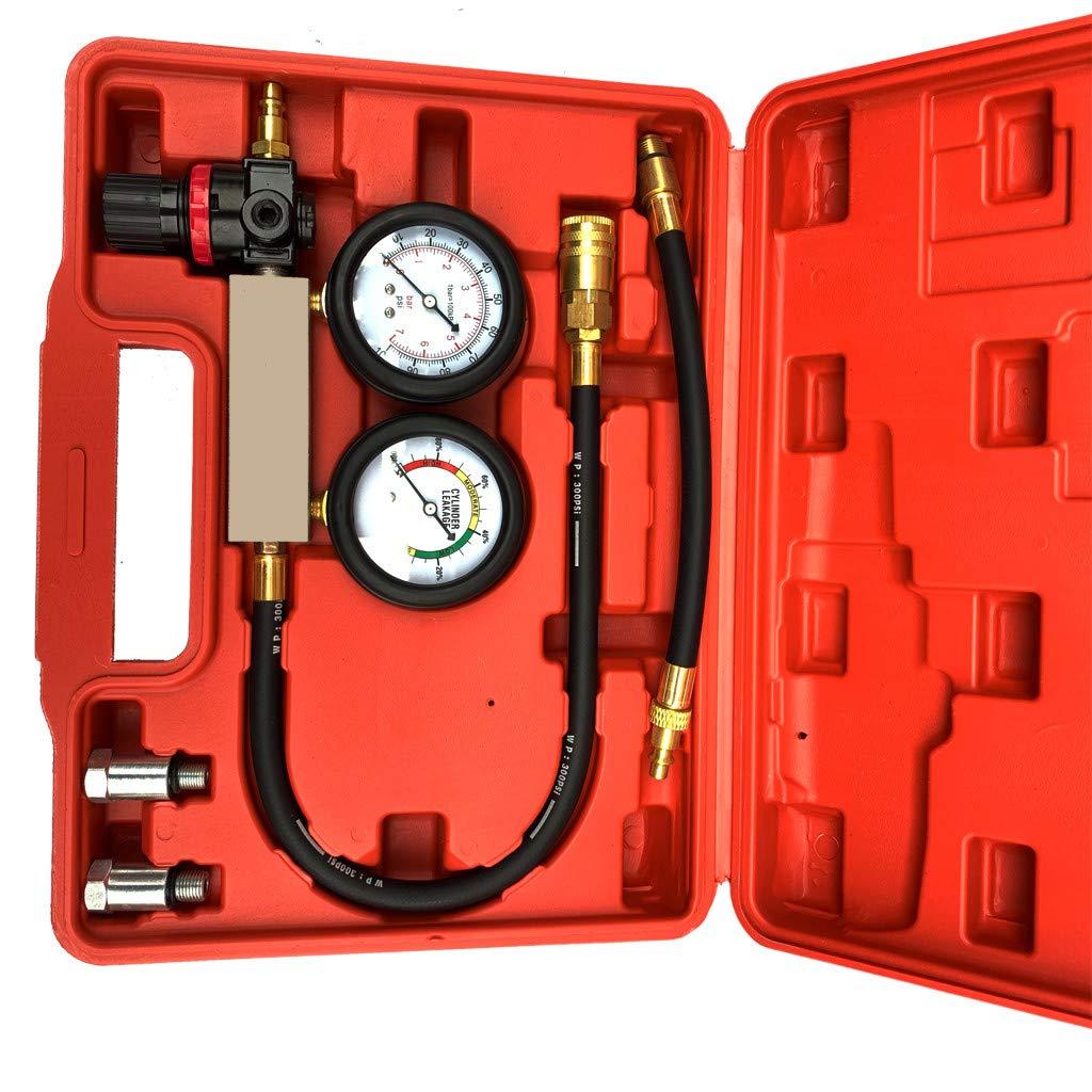 CMrtew 0-100PSI Cylinder Leak Tester Compression Leakage Detector Kit Set Petrol Engine Gauge Tool Double Gauge System Automobile Tools(Ship from USA)