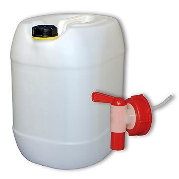 Bidón de polietileno /Jerrycan 30 L natural + 1 Grifo Aeroflow DIN61 (22001+