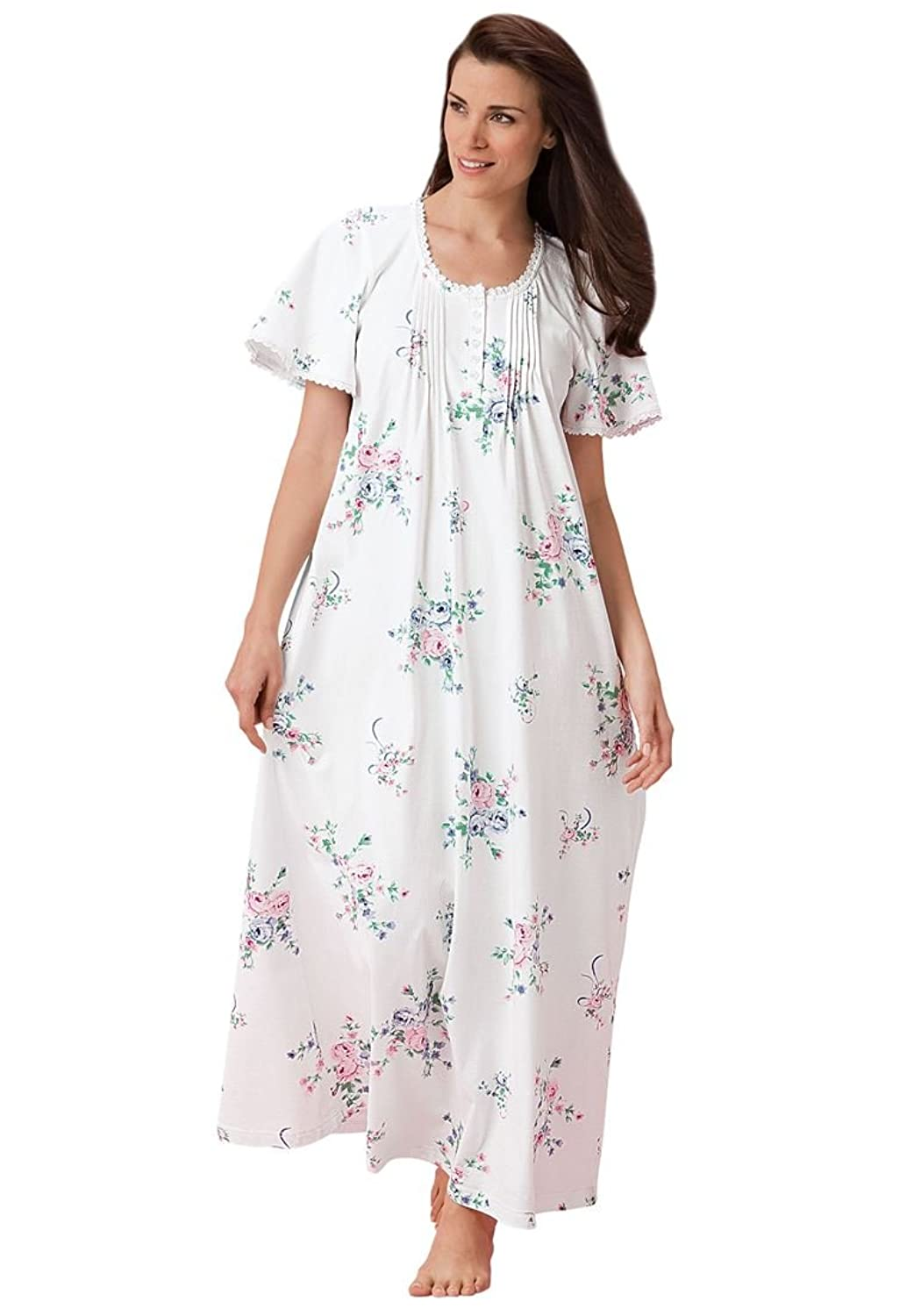 Only Necessities Women's Plus Size Pintucked Floral Long Gown