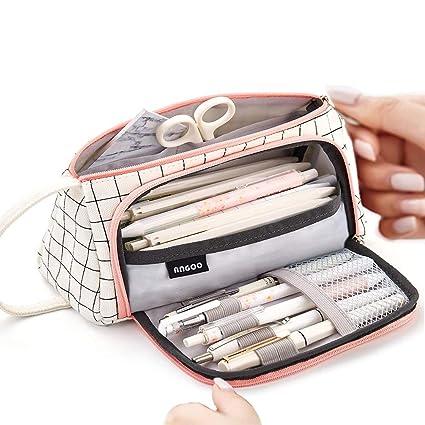 Estuche de gran capacidad, duradero, para guardar bolígrafos, bolígrafos, bolígrafos, maquillaje, para niñas, 20 x 11 cm, color Kariertes Weiß