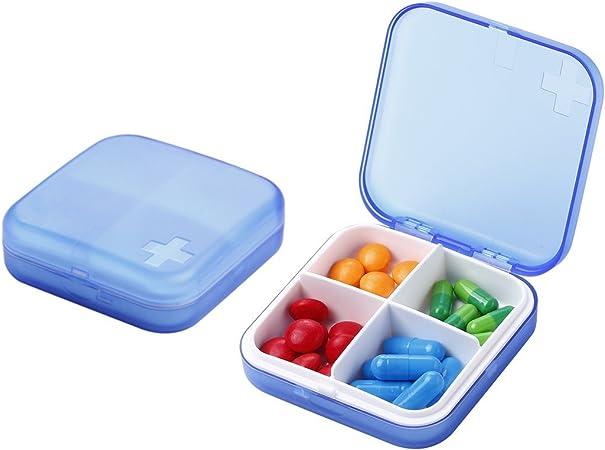 Caja para pastillas, organizador de pastillas, recordatorio de medicina, mediplanner, 4 compartimentos, caja de vitamina de almacenamiento, soporte para recordatorio de viaje azul: Amazon.es: Hogar