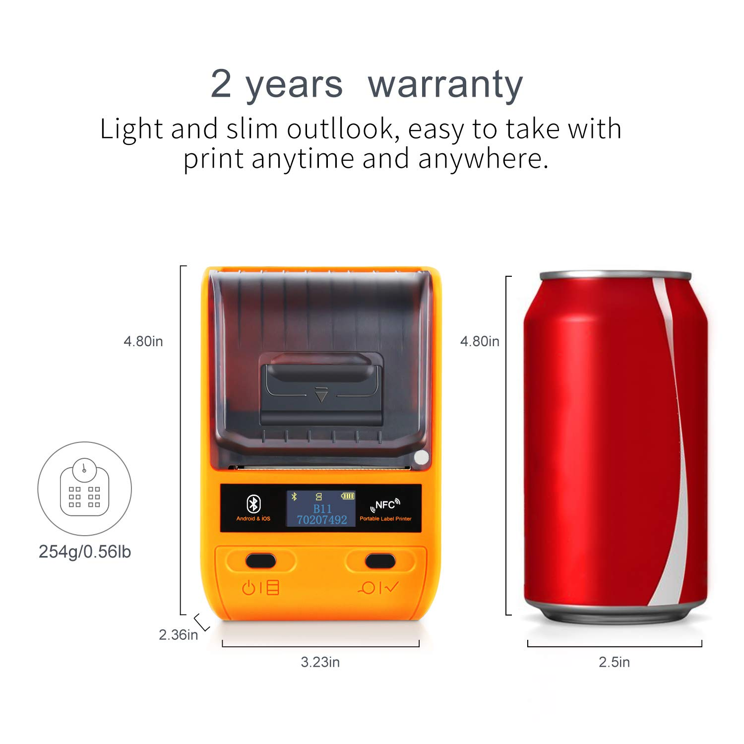JINGCHEN B11 Bluetooth Portable Thermal Label Printer, Orange, Android & iOS, Wireless, Power & Communication, Computer-Room, Figures/Text/Images/barcodes, 1 roll for free (0.98x 1.50x1.57 in) 100 pcs by JINGCHEN (Image #4)