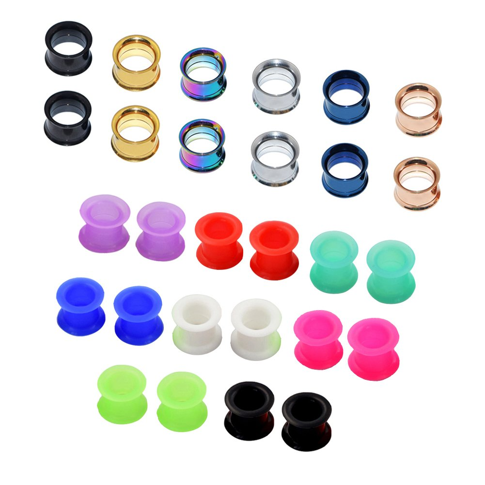 Qmcandy 28pcs Stainless Steel Screw Tunnels & Hollow Silicone Flesh Gauges Expander Gauge:1''(25mm)