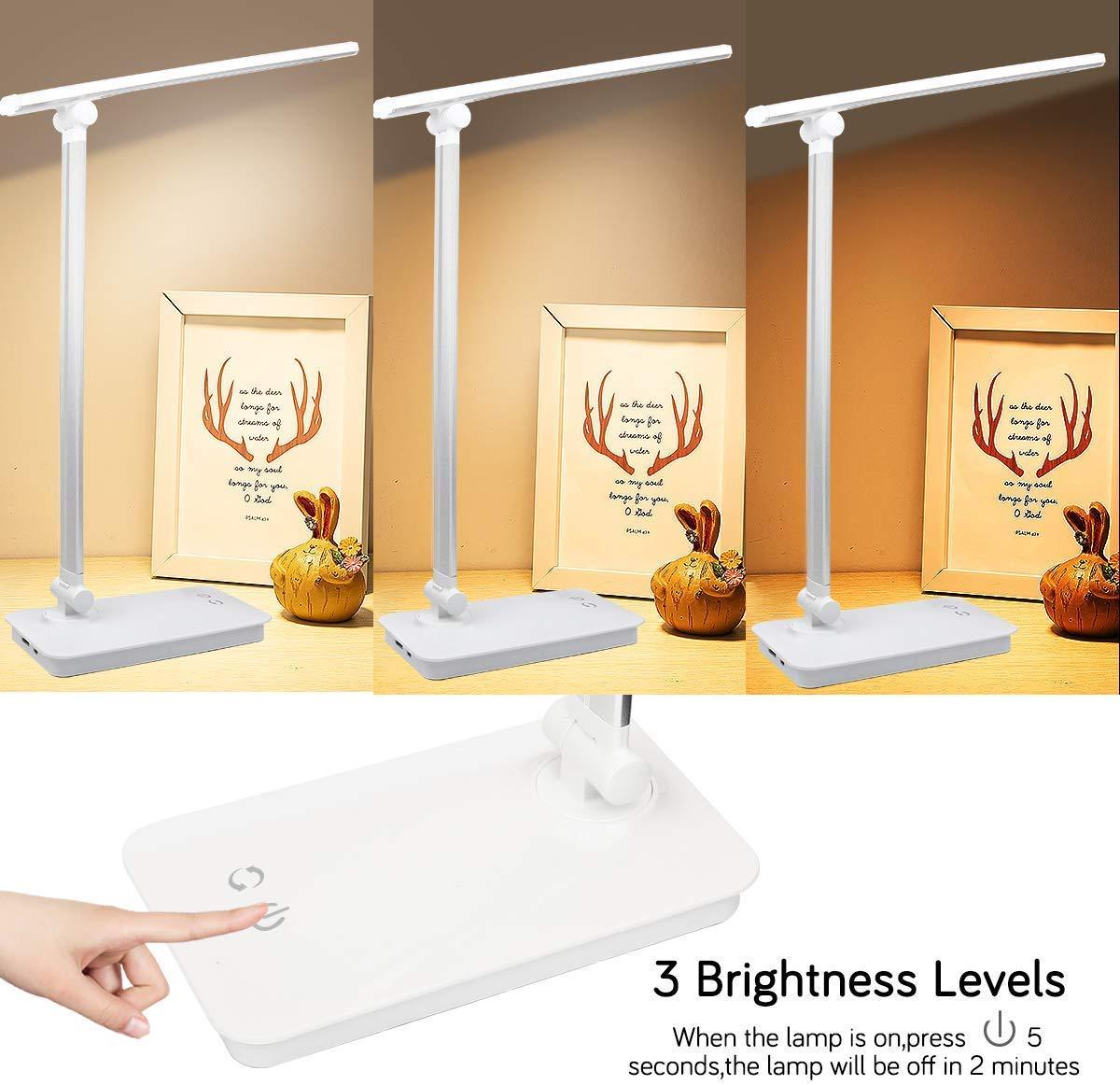 LED-Schreibtischlampe dimmbare LED-Tischlampe 3 Beleuchtungsmodi 5 Helligkeitsstufen Silver Touch-Steuerung aufmerksamkeitsstarke Klapptischlampen mit USB-Ladeanschluss