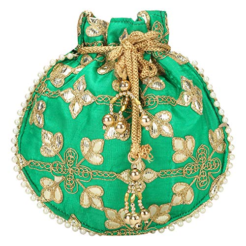 Indian Ethnic Designer Embroidered Silk Potli Bag Batwa Pearls Handle Purse (Green-1)