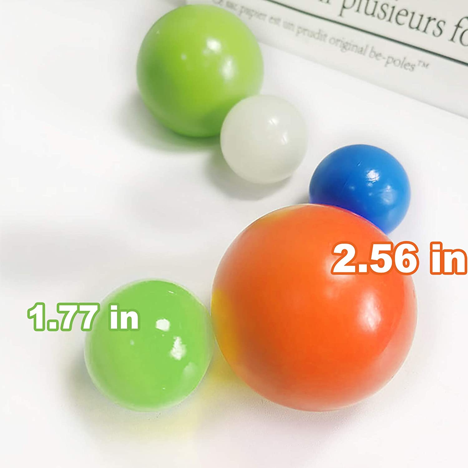 BUENAVO 4 PCS 1.77 inch// 2.56 inch Luminous Stress Relief Ball 45mm//65mm to Therapy Hand Exercisers for Adults Relieve Anxiety Stick Squishy to The Wall and Slowly Fall Off