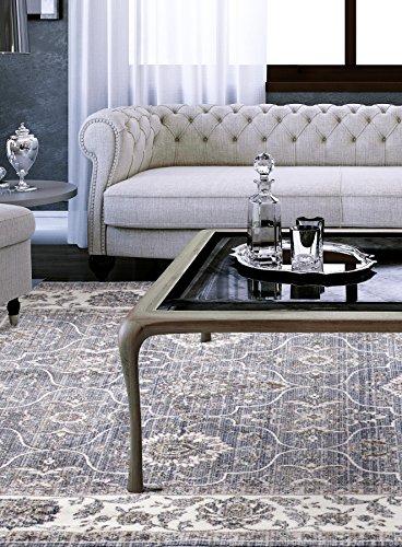 Ecarpetgallery Transitional Paradis TFD1 Open Field 4′ x 5′ Blue living room dining room arearug