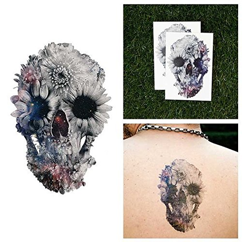 (Tattify Space Collage Skull Temporary Tattoo - Blossom (Set of 2) - Other Styles Available - Fashionable Temporary Tattoos - Long Lasting and Waterproof)