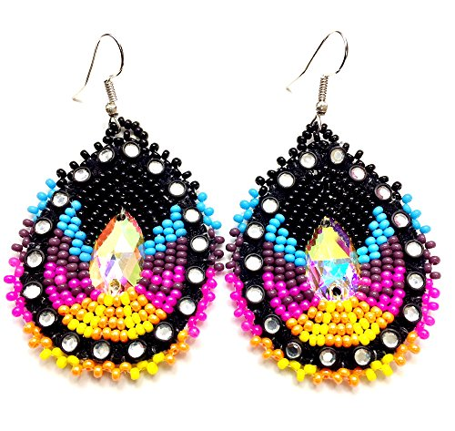 Handmade Native American Inspired Beaded Teardrop Earrings (Pink)