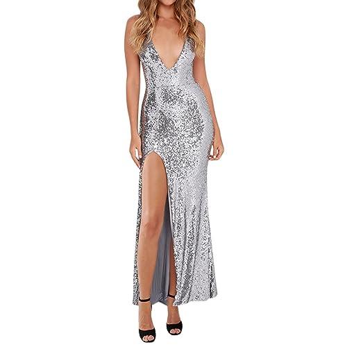 Sue&Joe Women's Maxi Dresses Deep V-neck High Slit Open Back Sequin Evening Gown