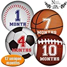 Sports Baby Monthly Stickers - Great Shower Gift or Photo Keepsake for Scrapbook
