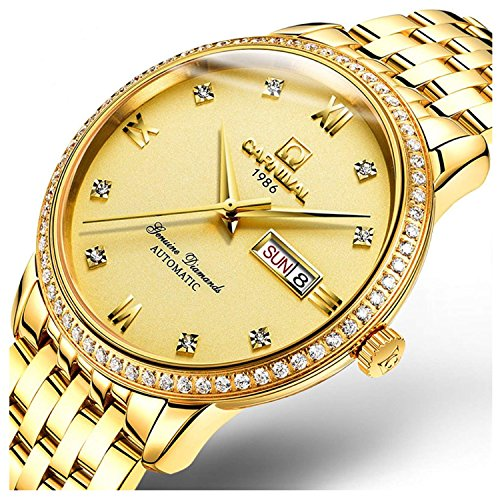 Luxury Bezel Men's Business Automatic Mechanical Sapphire Glass Diamond Waterproof Large Dial Gold Watch