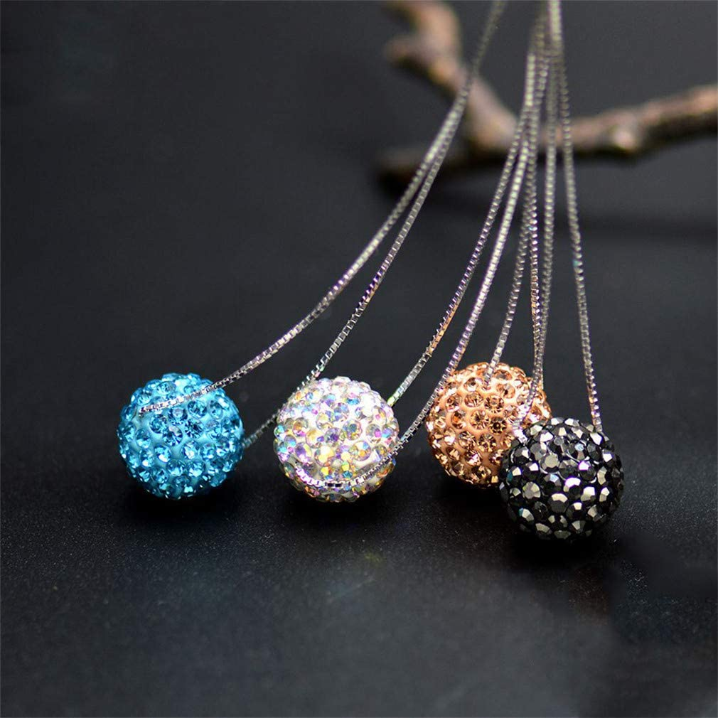 925 Sterling Silver 12Mm Crystal CZ Stone Bead S925 Heart Box Chain Turquoise Peach Ab White Ball Pendant Necklaces Ab White