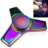 Fidget Spinner, Greatever K1 Rainbow Colorful EDC Tri Fidget Hand Spinning Toy Time Killer Stress Reducer High Speed Focus Toy Gifts Perfect for ADD, ADHD, Anxiety, Boredom and Autism Adult Kids