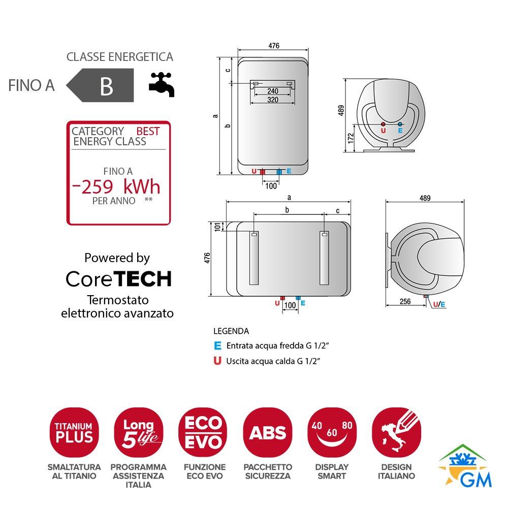 Ariston Shape Eco Evo 80 V/5 EU Vertical Depósito (almacenamiento de agua) Sistema de calentador único Plata, Blanco - Hervidor de agua (Vertical, ...