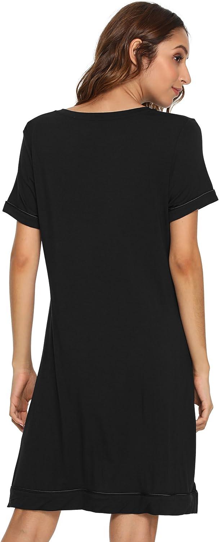 WiWi Womens Bamboo Soft Short Sleeve Nightgowns Lightweight Sleepwear Plus Size Sleepshirt Cute Night Dress S-4X