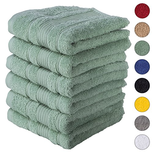 6 PACK Hand Towels Set | Premium Quality Luxury Turkish Cotton Absorbent AND Super Soft - TEAL GREEN