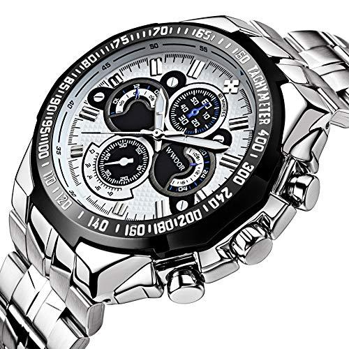 ساعت مچی مردانه تجاری لوکس Wwoor ساعتهای استیل ضدزنگ ورزشی ساعتهای تفریحی کوارتز ضد آب ورزشی