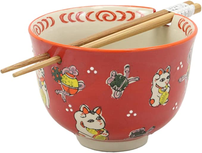 Ebros Gift Auspicious Lucky Meow Cat Japanese Maneki Neko Colorful Porcelain Bowl With Bamboo Chopsticks Set For Salad Ramen Pho Soup Cereal Home Kitchen Decorative Bowl Red Kitchen Dining