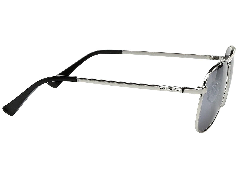 VonZipper Statey Aviator Sunglasses Silver Gloss with Grey Chrome Lens Case