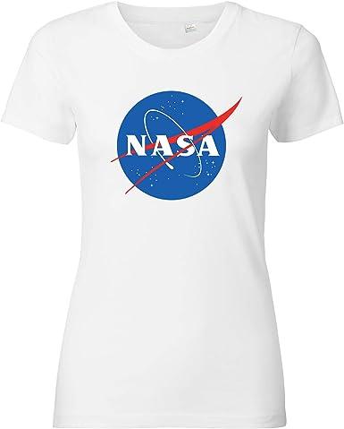 ShirtWorld - Camiseta para mujer, diseño con logotipo de NASA: Amazon.es: Ropa y accesorios