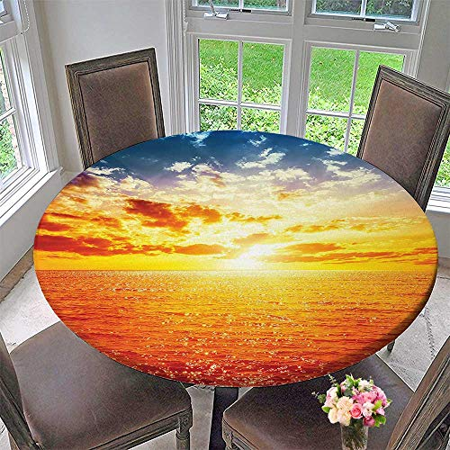 (Mikihome Round Table Tablecloth Collection Sunset Over Sea Vibrant Colors Golden Horizon Honeymoon Travel Destination Blue Yellow for Wedding Restaurant Party 67