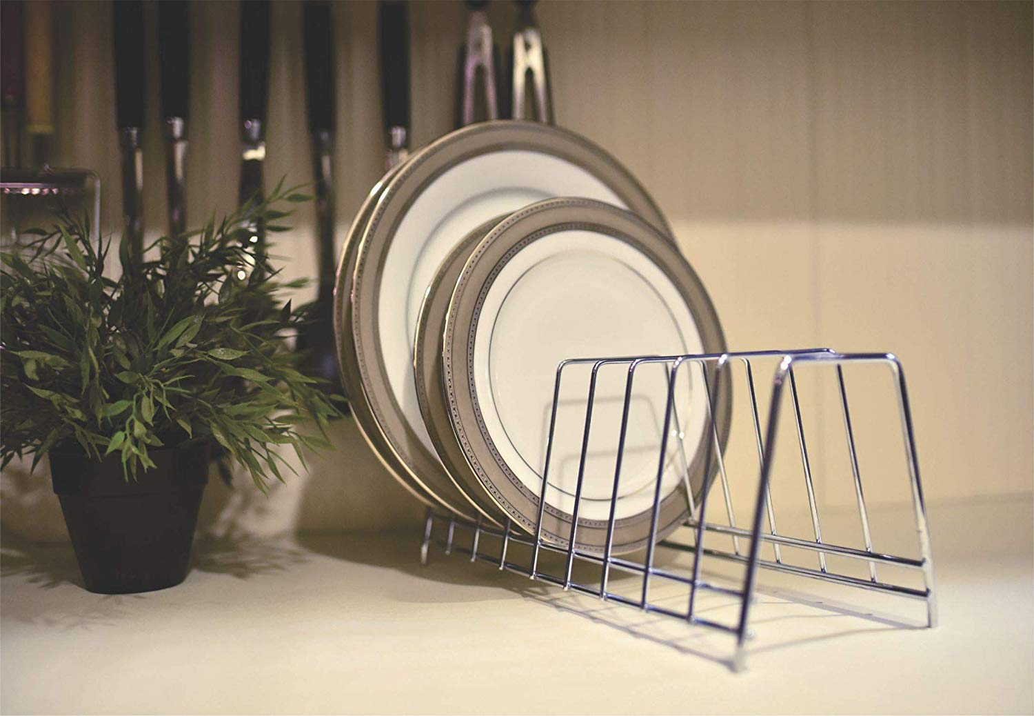 Levon Stainless Steel Plate Rack | Dish Rack | Plate Stand | Dish Stand | Lid Holder Utensil Rack for Kitchen - 6 Sections| with Anti-Rust Nano Coating product image