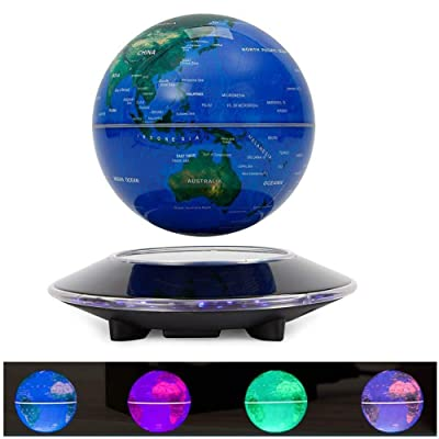 Magnetic Levitation Floating Globe, 6'' Maglev Globes Anti Gravity Rotating World Map with LED Colorful Light and Base for Children Educational Gift Home Office Desk Decoration: Office Products