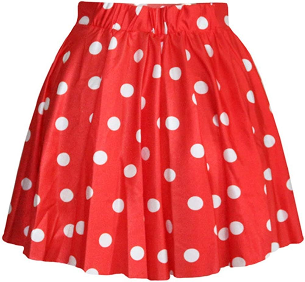 AvaCostume Women's High Waisted Candy Colors Polka Dot Skirt at  Women's Clothing store