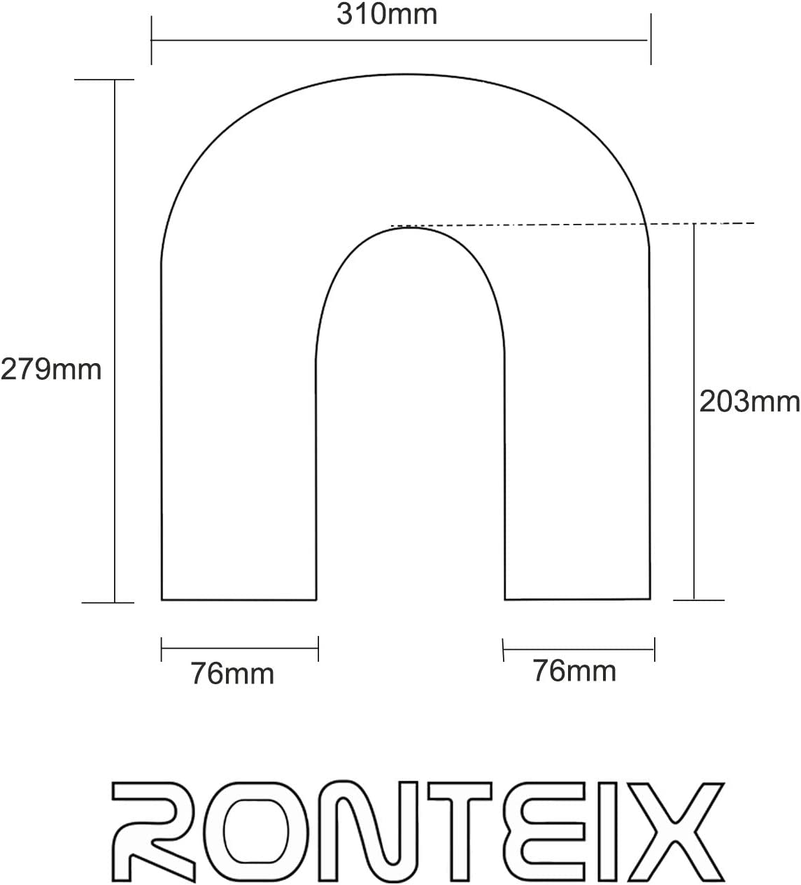 """Ronteix Universal Polished Aluminum Pipe Tubing 102MM,4/"""" O.D,45 Degree Elbow"""