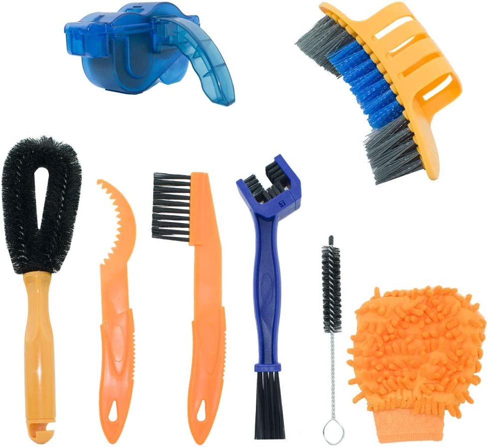 YOUMI Bicycle Cleaning Kits, 8-Piece Precision Bicycle Cleaning Brush Tool Including Bicycle Chain Brush, Suitable for City, Hybrid, Mountain, Highway, Folding Bicycle.