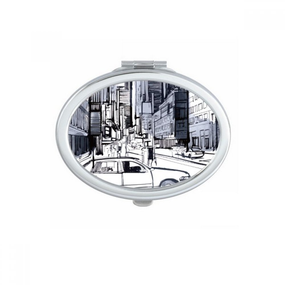 NYC Love New York City America Landscape Oval Compact Makeup Pocket Mirror Portable Cute Small Hand Mirrors Gift