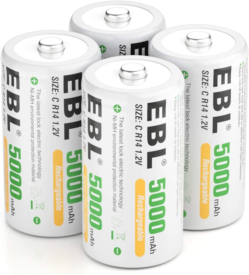 4 Baterias Recargables 5000mah C 1.2V CR14 Medianas EBL