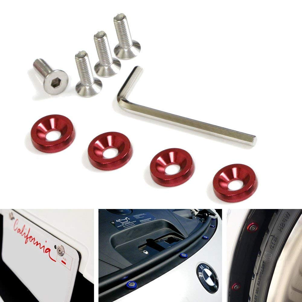 iJDMTOY 4 JDM Racing Style Black Aluminum Washers Bolts Kit for Car License Plate Frame, Fender, Bumper, Engine Bay, etc iJDMTOY Auto Accessories Also for wheelbase body kit bumper lip