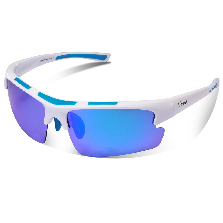 Sports Sunglasses - Carfia Polarized Sunglasses for Men Women Running Cycling Fishing Skiing Golf TR90 Ultralight Comfortable Frame (Blue Lens-2, Multicoloured)
