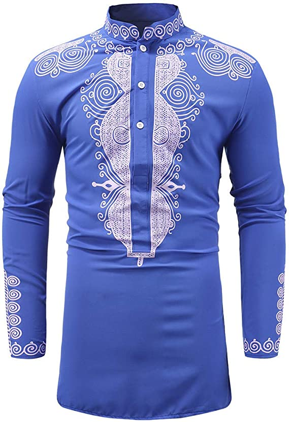 routinfly Camisa de Manga Larga, Camiseta de Manga Larga con impresión étnica Casual para Hombre, Estilo Africano, Modelo Vintage Turquesa M: Amazon.es: Ropa y accesorios